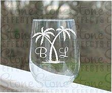 Weinglas ohne Stiel, geätzte Palme, Hochzeitsglas