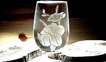 Weinglas ohne Stiel, handgraviert mit tropischer