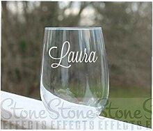 Weinglas ohne Stiel, mit Namen oder Wor