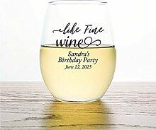 Weinglas ohne Stiel, personalisierbar, für