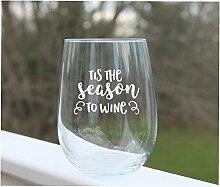 Weinglas ohne Stiel, weihnachtliches Weinglas,