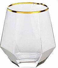 Weinglas,Rotweingläser 2pcs Diamant sechseckige