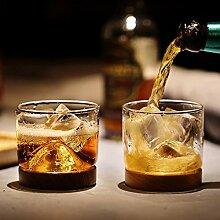 Weinglas,Rotweingläser Whiskey Glas Berg Holz