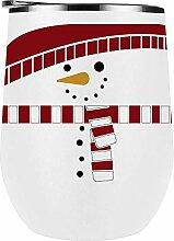 Weinglas Schneemann mit Schal 12 oz weiß