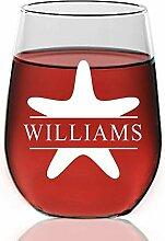 Weinglas Seestern-Monogramm ohne Stiel,