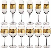 Weinglas-Set, geprägt, Art-Deco, Goldfolie,