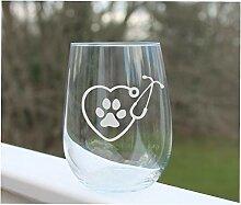 Weinglas Stiellos geätzt Tierärzte Hund Weinglas
