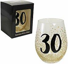 Weinglas, Stiellos, in Geschenkbox, zum 30.