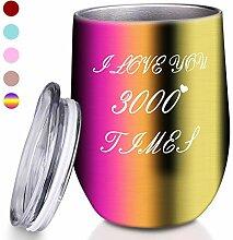 Weinglas, vakuumisoliert, ohne Stiel, 340 ml,