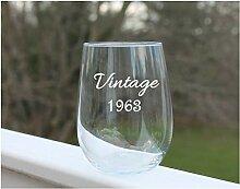 Weinglas zum Geburtstag, ohne Stiel, geätztes