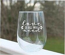 Weinglas zum Valentinstag ohne Stiel, geätzte
