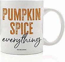 Weinlese-Herbst-Kaffeetasse-orange Kürbis-Gewürz