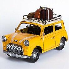 Weinlese-Klassisches Automodell-Dekoration-Kreatives Elegantes Café-Fenster-Eisen-Reise-Gelb Mini Car Crafts