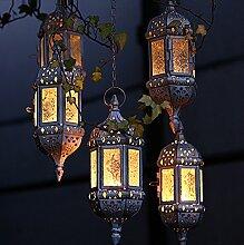 Weinlese -Metallhöhle Hängende Laterne Schöne Kerzenständer Artikel Weiß Marokkanische Kerzenständer Gartendeko