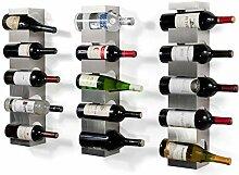 Weinregal aus Edelstahl, Breite Flaschenhalter mit