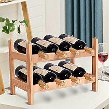 Weinregal aus Holz, Flaschenregal mit 2 Ebenen,