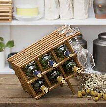 Weinregal aus Holz, für 6 Flaschen, freistehend,