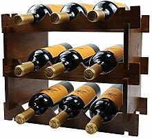 Weinregal aus Holz mit 3 Ebenen für 9 Flaschen
