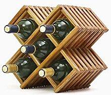 Weinregal aus Holz mit Tischplatte, Weinregal,