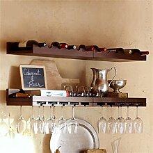 Weinregal aus massivem Holz an der Wand montiertes