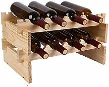 Weinregal für 12 Flaschen, 3 Etagen, Holz,