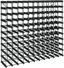 Weinregal für 120 Flaschen Schwarz Massivholz
