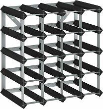 Weinregal für 20 Flaschen Schwarz Massivholz