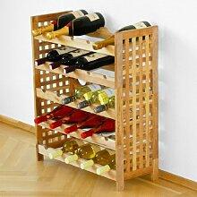 Weinregal für 25 Flaschen, Walnuss, stapelbar