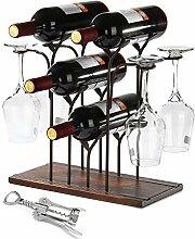 Weinregal für 4 Flaschen und 4 Weingläser,