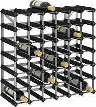 Weinregal für 42 Flaschen Schwarz Massivholz