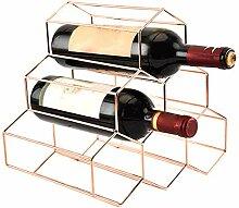 Weinregal für 6 Flaschen, freistehend, Rotgold,