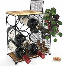 Weinregal für 6 Flaschen, mit Kork-Aufbewahrung,