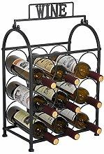 Weinregal, für 9 Flaschen, Eisen-Design,