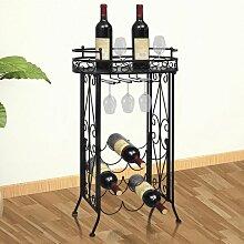 Weinregal für 9 Flaschen mit Stielglashalter