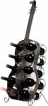 Weinregal Gitarre Silber für 10 Flaschen Metall