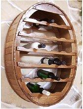 Weinregal Holz Wand Weinfass 24 Flaschen Braun