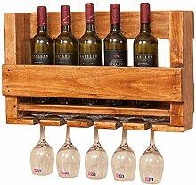 Weinregal Holz Wandhalterung Weinglasregal Rotwein