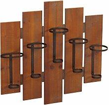 Weinregal HWC-B99, Wandregal Flaschenhalter, Holz