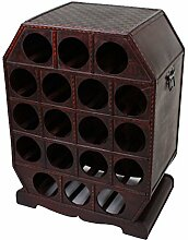 Weinregal im Kolonialstil Aufbewahrung Kiste Dekoration Holz Braun Metall 18x Flaschen Harms 304007