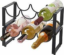 Weinregal mit 2 Ebenen aus Metall, stapelbar, für