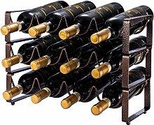 Weinregal mit 3 Ebenen, stapelbar, für 12
