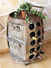 Weinregal mit Glashalter aus Holz Weinfass Fass