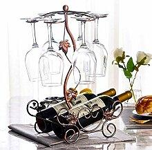 Weinregal mit Glashalter, freistehend