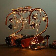 Weinregal Schmiedeeisen Tabletop mit LED-Leuchten