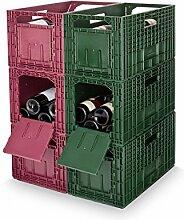 Weinregal WEINBOX, Rot/Grün, 6er-Set - (25545