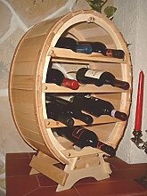 Weinregal Weinfass für 12 Flaschen Natur lackiert