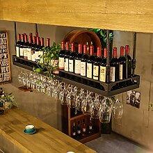 Weinregal Weinglas-Gestell, Suspendierung kreatives Wein-Gestell, gedrehtes Eisen-Rotweinglas-Rahmen, Bar-Haushalts-Wein-Schalen-Halter Hängender Glashalter ( Farbe : Schwarz , größe : 120*35cm )