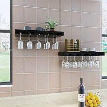 Weinregal Weinglas Halter Europäischen Massivholz Wand Lagerregal Wohnzimmer Küche ( Farbe : Schwarz , größe : 60 cm )