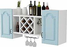 Weinregal zur Wandmontage H1019 (Farbe: Blau)