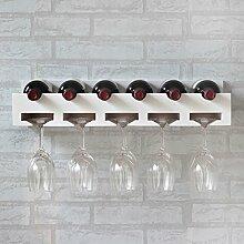 Weinregale Massivholz Rotwein Racks Wand hängt Weinglas Rahmen Hängen Upside Down Holzhaken Wein Display Rack Hanging Cup Holder Racks Wein Inhaber Weinregale ( Farbe : Weiß )